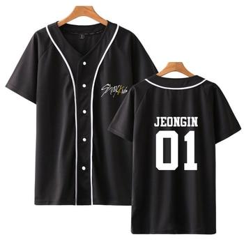 Summer Kpop Stray Kids Yellow Wood V-neck Baseball Tee Printed Short Sleeve Harajuku Casual Fashion Soft 2019 New Women/men tee 1