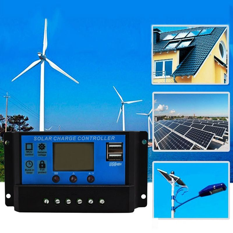 IALJ Top <font><b>30A</b></font> 12V / 24V LCD Intelligence Auto Regulate <font><b>PWM</b></font> <font><b>Solar</b></font> Battery <font><b>Charge</b></font> <font><b>Controller</b></font> image