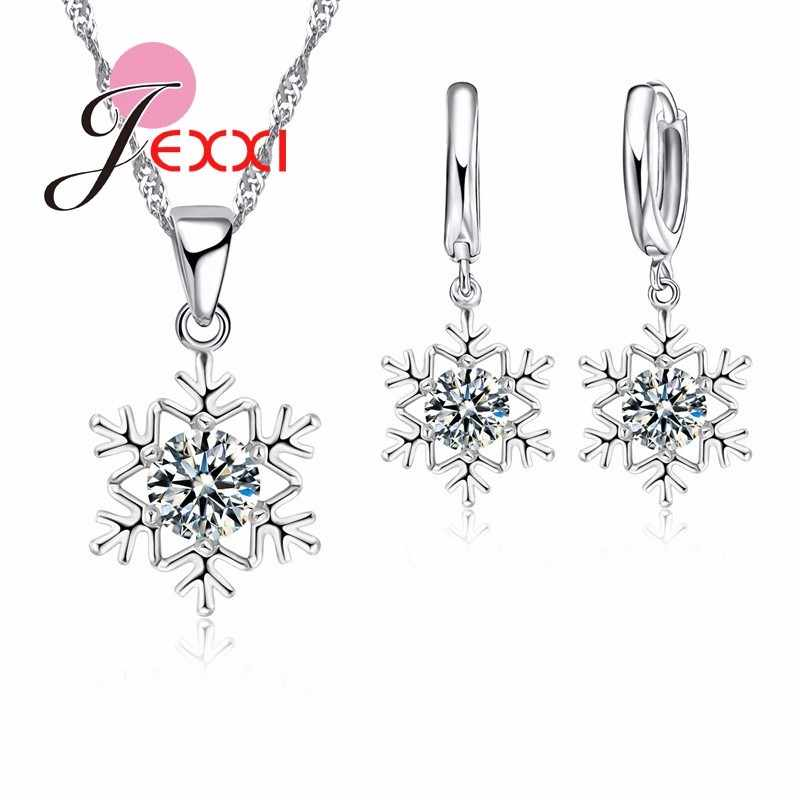 Elegant Women Snowflake Pendant Crystal 925 Sterling Silver Chain Necklace+Earrings Set Female Fashion Wedding Christmas Jewelry