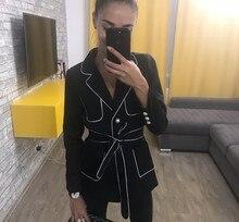 edge color hit pearl Button pocket long Fasten Strip Women Office Lady Female High End Suit black Jacket