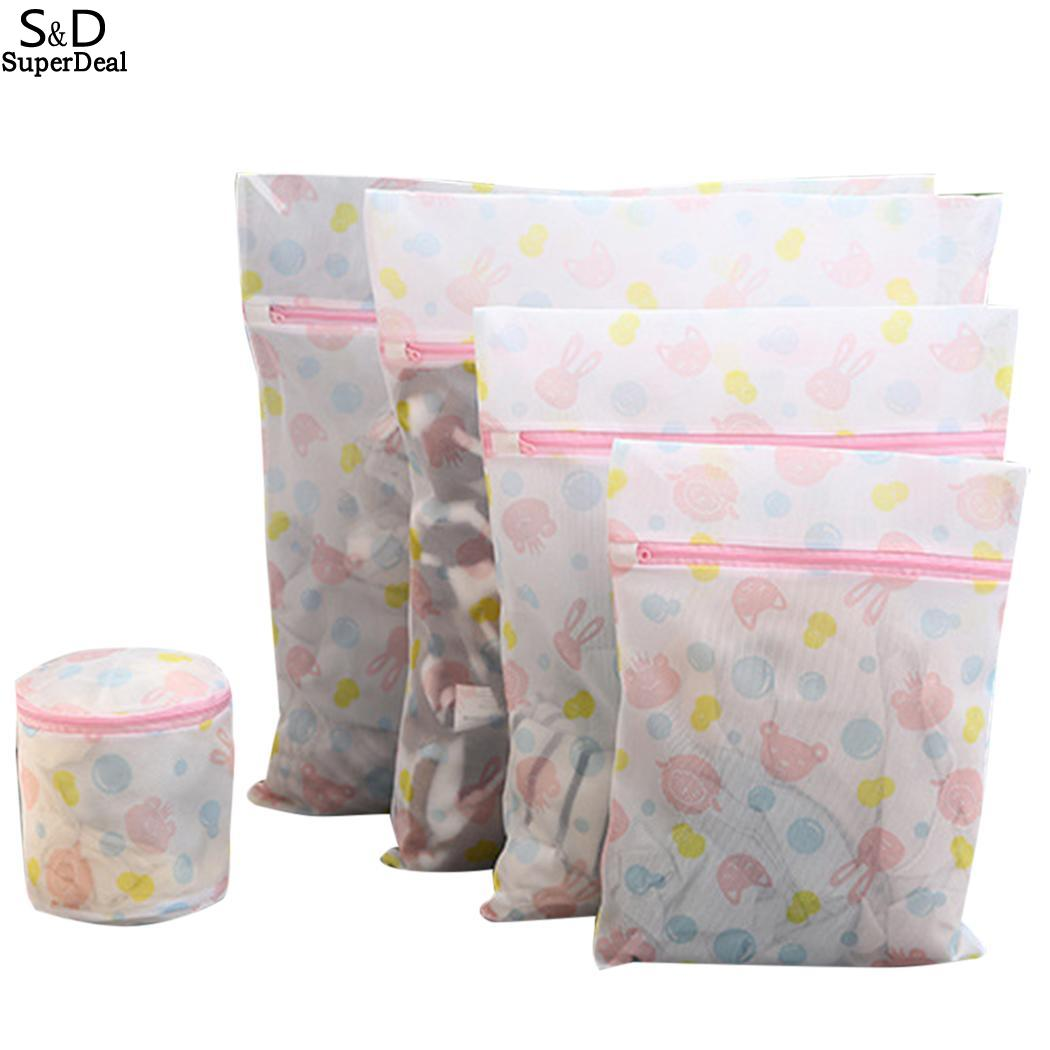 New Multi-functional Wash Mesh Laundry Delicates Net Prints Pack Of Bag With Zipper