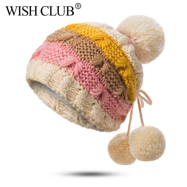 27de8689b7f WISH CLUB Pom Pom Beanie Stay Warm   Stylish Soft   Chunky Colorful Knit  Beanie Hats for Women