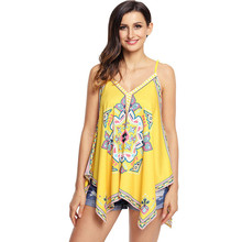0dc6a2dc41 Liva girl 2018 Women Summer Tank Top Sexy Spaghetti Strap Vest Asymmetrical  Print