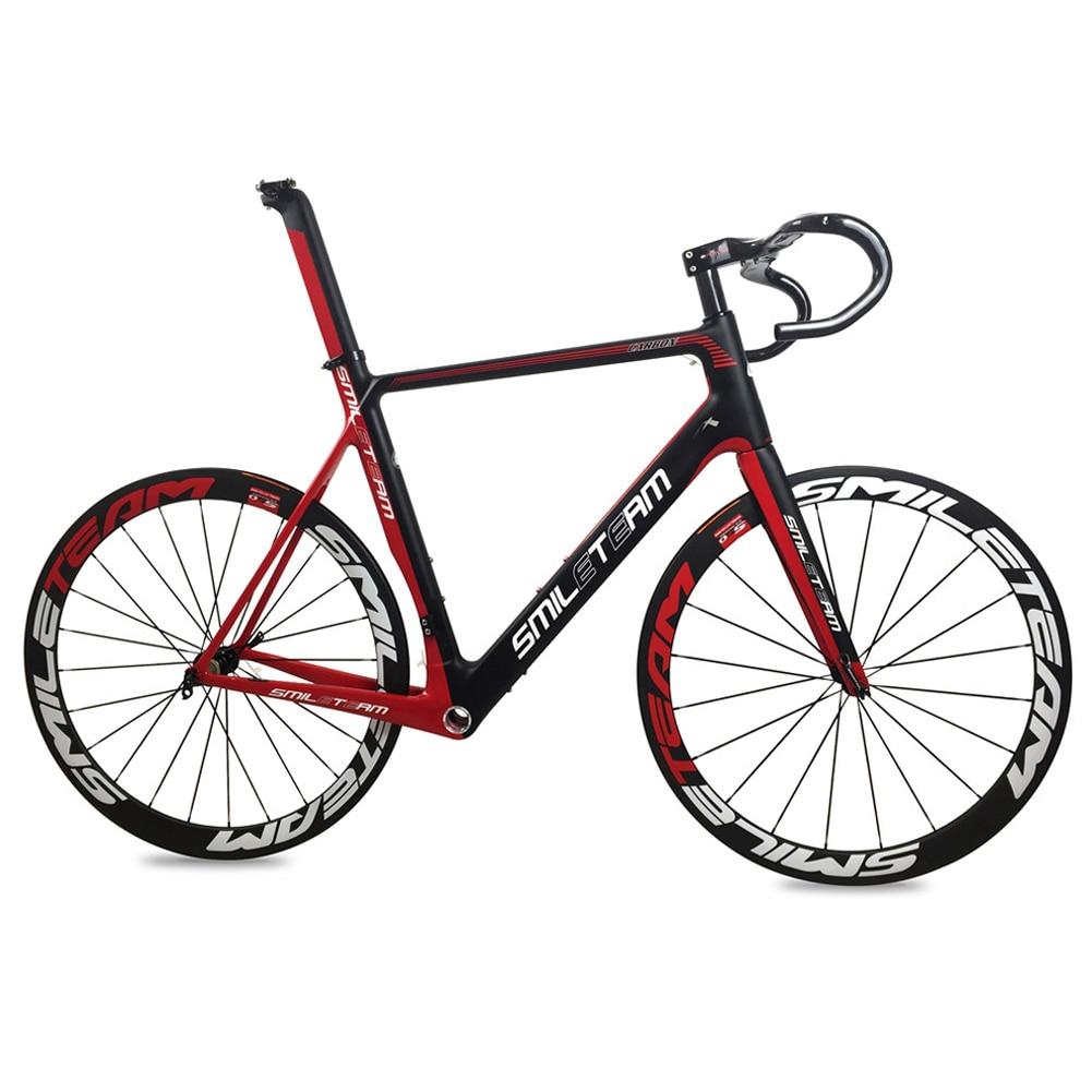 Smileteam Aero Carbon Fiber Road Bike Frameset With Wheelset Handlebar BSA Full Carbon Racing Bicycle Frameset 2 Year Warranty