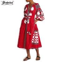 YACKALASI Mujeres Vestido Largo Fiesta Robe Gown Vestidos Red Tassels Étnico Bordado Mori Chica Manga Floja de Bohemia vestidos