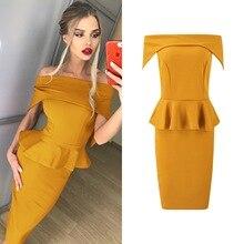 цена Women Off Shoulder Party Dress 2019 Ruffles High Street Slash Neck Solid color Autumn Elegant Women's Bodycon Dress Vestidos в интернет-магазинах