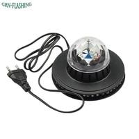 Voice Control Mini UFO LED Stage Light RGB 7 Colors Changing Rotating Magic Ball LED Laser
