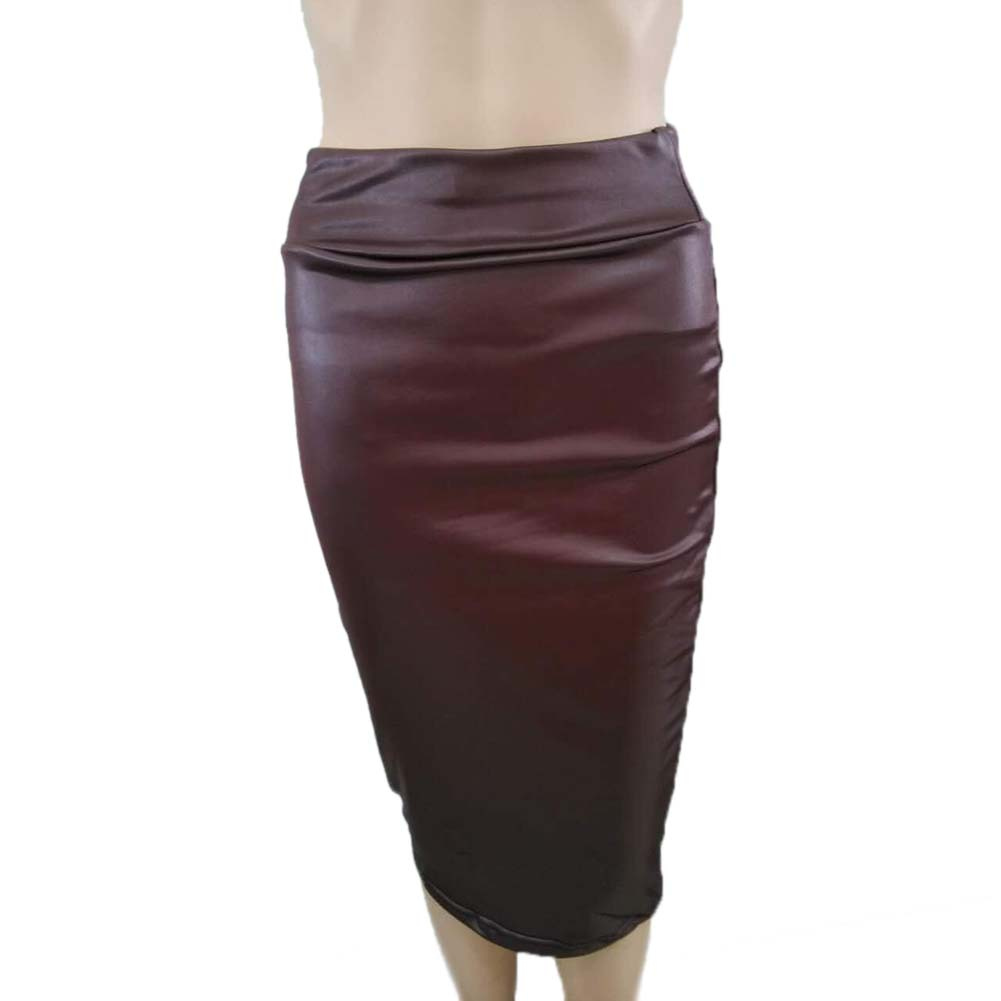 Women High Waist Faux Leather Pencil Skirt Bodycon Skirt Solid Sexy OL Office Skirts AIC88