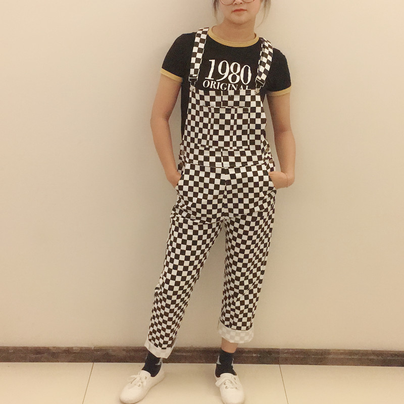 Plus Size Kpop Ulzzang Rua Hiphop Macacão Perna Larga Calça Jeans de Algodão Em Linha Reta Calças Suspender Macacão xadrez tabuleiro de Xadrez
