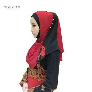 Image 3 - Hijab en mousseline de soie pour femmes musulmanes, foulard à capuche, Bandanas, casquette, châle, Abaya, couvre chef arabe islamique (sans sous vêtements)