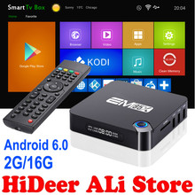 Android 6.0 2 GB 16 GB TV Box Amlogic EM95X S905X Quad-Core A53 Kodi 16.1 Completo cargado WiFi 4 K inteligente Streaming H.265 Android TV caja