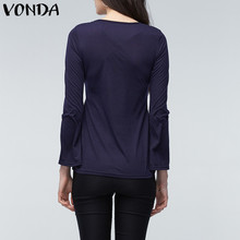 VONDA 2018 Spring Pregnant Women Long Sleeve Tops Sexy Pregnancy Lace Splice Blouses Shirts Casual Maternity Clothings Plus Size