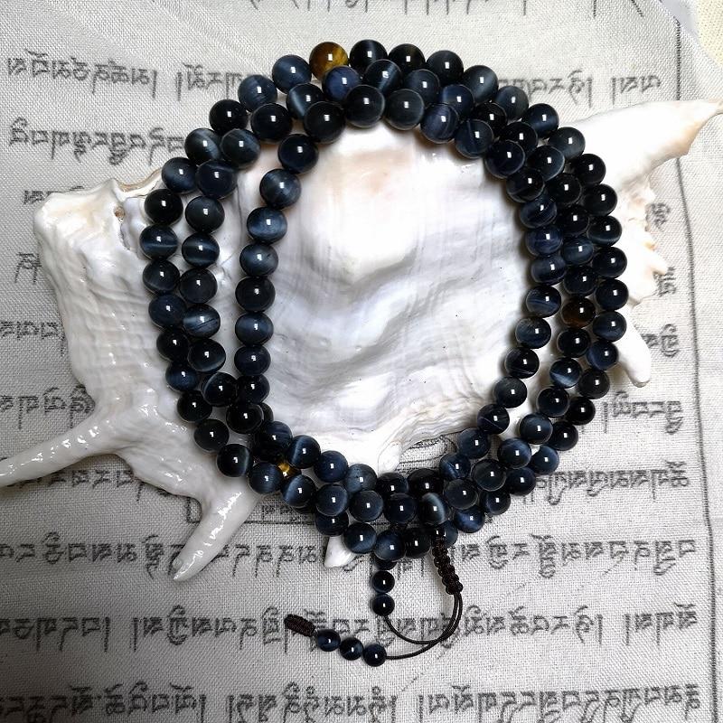 Tibetan Designer Mala Genuine Blue Tiger Eye Stone Beads Mala Tibetan Hawk eye Stone Rosary Beads