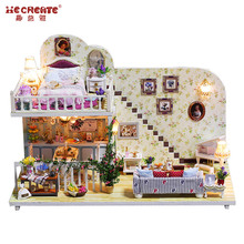 Miniatyr DIY Doll House Modell Byggsatser casa de boneca Doll House Möbler Leksaker Wooden Diy Dollhouse Jul Presenter