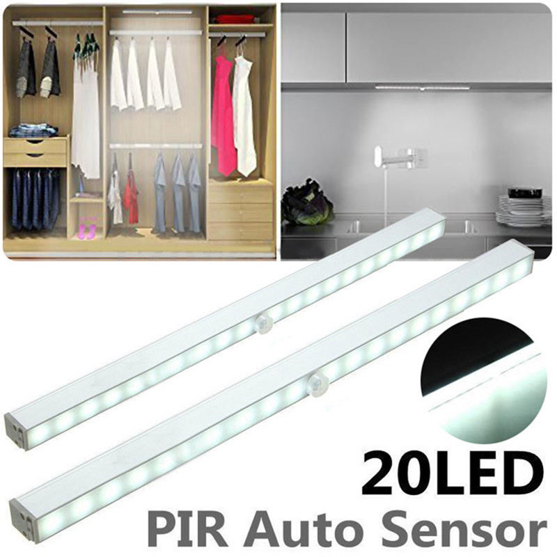 Wireless 20 LED Under Cabinet Light Night Light With PIR Motion Sensor Wardrobe Closet Stair Kitchen Night Lamp Battery Power