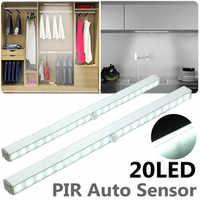 Wireless 20 LED Under Cabinet Light Night Light With PIR Motion Sensor Wardrobe Closet Stair Kitchen Night Lamp Battery Power