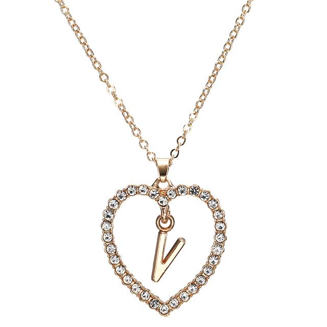 2018 Simple couleur or amour coeur colliers et pendentifs double strass collier ras du cou femmes déclaration Bijoux Bijoux x1 4
