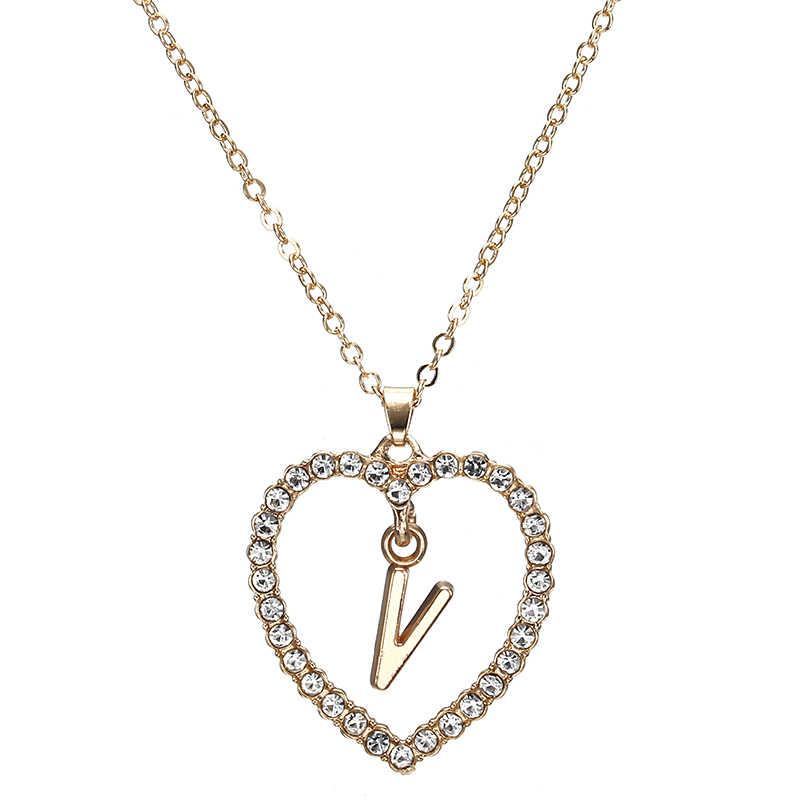 2018 простой золотистый Любовь Сердце ожерелья и подвески двойное колье из горного хрусталя яркое женское ожерелье ювелирные изделия Bijoux x1