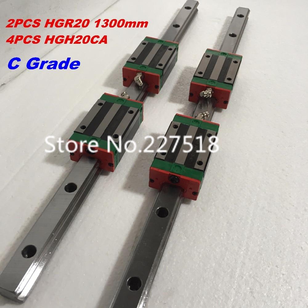 20mm Type 2pcs HGR20 Linear Guide Rail L1300mm rail + 4pcs carriage Block HGH20CA blocks for cnc router цена