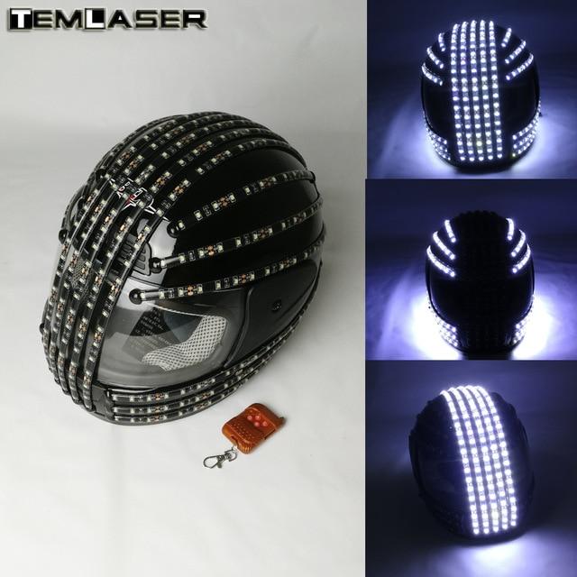 화이트 스트로브 LED 헬멧, LED 발광체 의상, 무선 리모컨, 로봇 레이저 댄스 공연