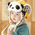 1 PC Children Lovely Panda Cap Warm Velvet Winter Aviator Hat Mask For Kids New