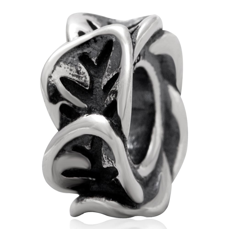 Fits Pandora Charms Bracelet 925 Sterling Silver Original Bead leaves spacer Charm beads Women DIY Jewelry free shipping