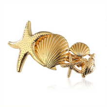 2019 New Trendy Vintage Gold Color Metal Starfish Shell Hairgrips For Women Fashion Hair Accessories Clips Hairpins