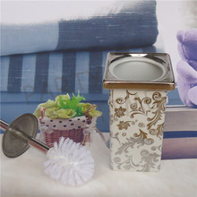 Electroplating desigh ceramic toilet brush holder