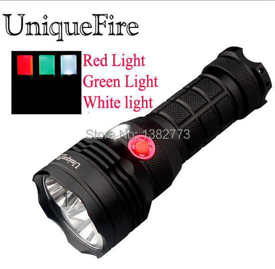 UniqueFire Cree Led white/ green/ red Light LED Flashlight Torch For Hunting Camping+26650 battery+car/dc/usb charger +holster creative car model style led white flashlight keychain w sound red black