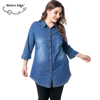 Water's Edge 2018 5xl 6XL Plus Size Denim Three Quarter Sleeve Women Tops Shirts Big Thin Autumn Female Blouse Big Clothes Blue