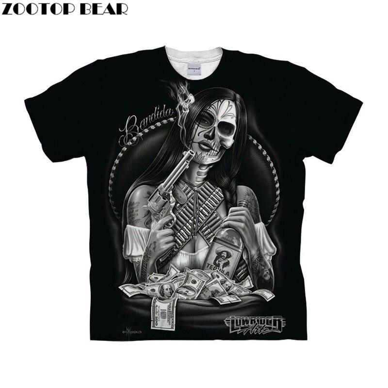 Girly Skull tshirt 3d t shirt Mens t-shirt Brand Top Tee Short Sleeve Tee Homme Camiseta Black Tshirt 6xl Drop Ship ZOOTOP BEAR