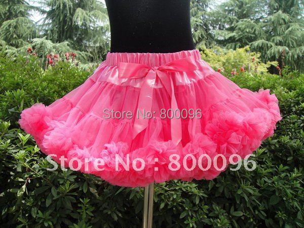 Hot Sale Dark Pink Tutu Skirt with Bow Tutu Skirts for Kids Cute of Baby Chiffon Pettiskirt Tutu PETS-114