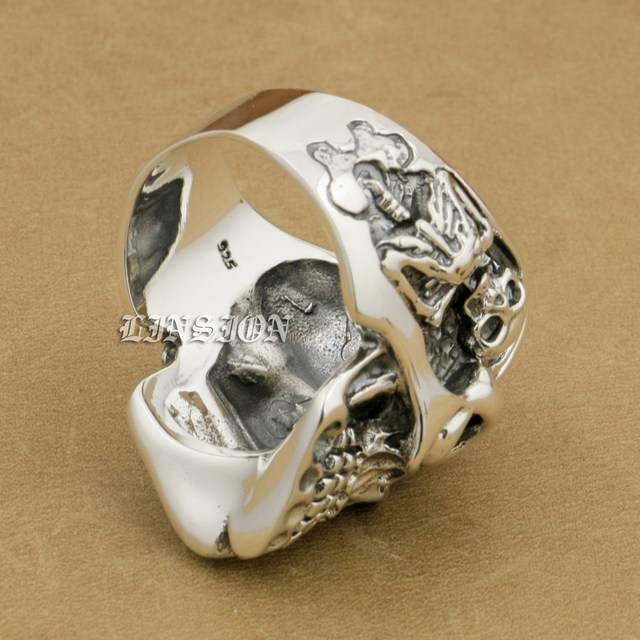 US Size 8~15 Blue CZ Stone Eyes Solid 925 Sterling Silver Titan Skull Mens Biker Rock Punk Ring 8V305