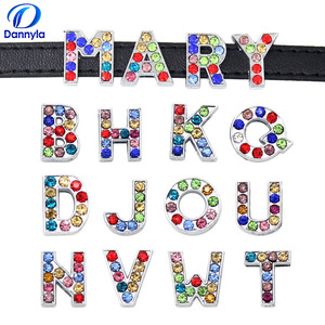 Image 1 - 1300 шт./лот 8 мм Красочные Стразы Слайд буквы подходят 8 мм DIY браслет ювелирные изделия LSSL015