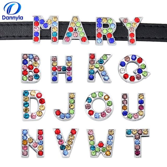 1300 шт./лот 8 мм Красочные Стразы Слайд буквы подходят 8 мм DIY браслет ювелирные изделия LSSL015