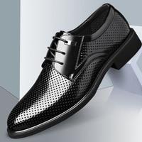 UPUPER Mens Dress Shoes Summer Breathable Hole Soft Leather Shoes Men Big Size: 37 49 Formal Oxfords Shoes Man Summer Footwear