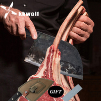 KKWOLF Outdoor Kitchen Portable Chef Knife CampingTactics Handmade Forged Butcher Slaughter Full Tang Hunting Knife kitchen tool