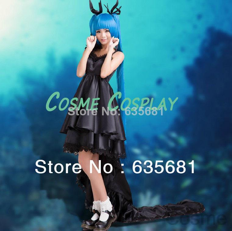 Cos Cosplay Vocaloid Miku Cosplay Dress Anime Costumes Black Original Edition Customized Long Trail Sexy Pugshop Female