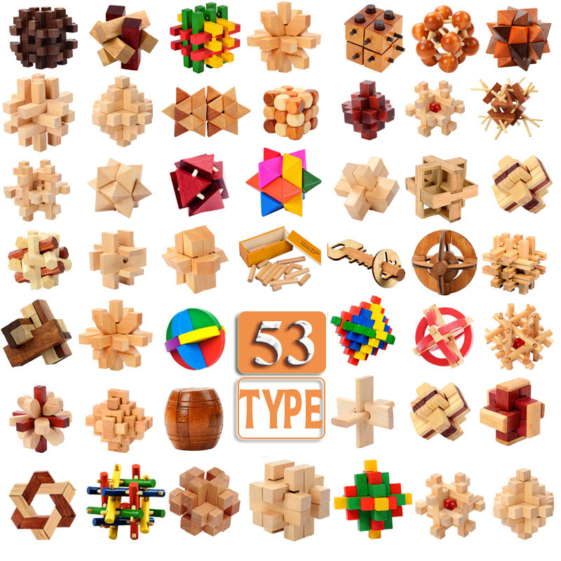 53 Kinds 3D Wooden Puzzle Toys Game Kongming Lock Cube Brain Teasers Educational Toy For Kids Adults Building Kit Block Model