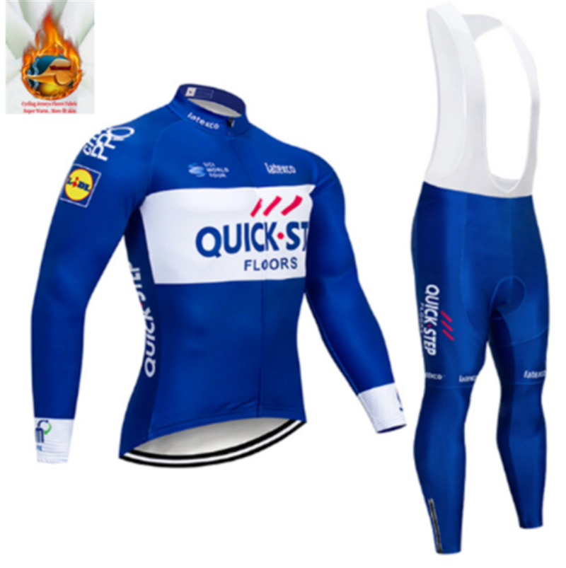 Quick step Winter Thermal Fleece Long Sleeves Cycling Jersey Set Clothing  Bike Clothes Wear MTB Bicycle 3ce6fdd68