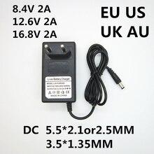 1 шт. AC 100-240 В DC 8,4 в 12,6 в 16,8 в 2A 2000 мА адаптер питания литиевая батарея зарядное устройство для 18650 литиевая батарея