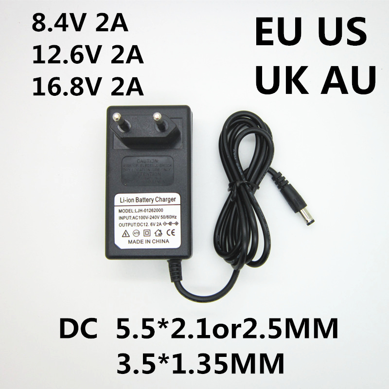 AC 100-240V To DC 8.4V 12.6V 16.8V 2A 2000ma Adapter Power Supply Lithium Battery Charger Transformer For 18650 Lithium Battery
