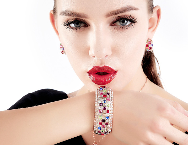 Incroyable couleur or Rose multicolore cubique zircone entièrement réglage de luxe reine série femme bracelet Bracelets en gros - 3