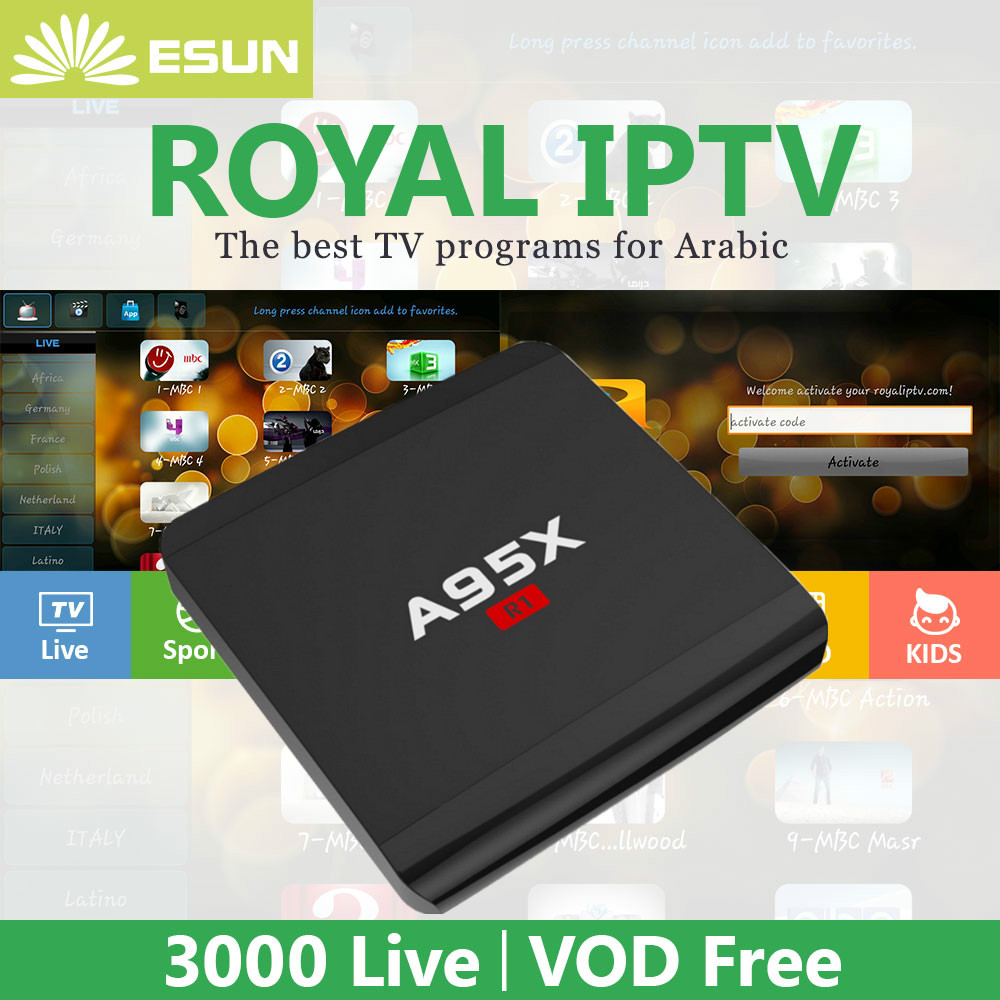 US $109 0 |Royal IPTV with A95X R1 Arabic Iptv movies Android TV Box Set  Top Box Rockchip RK3229 Android 6 0 Media Player Super stable-in Set-top