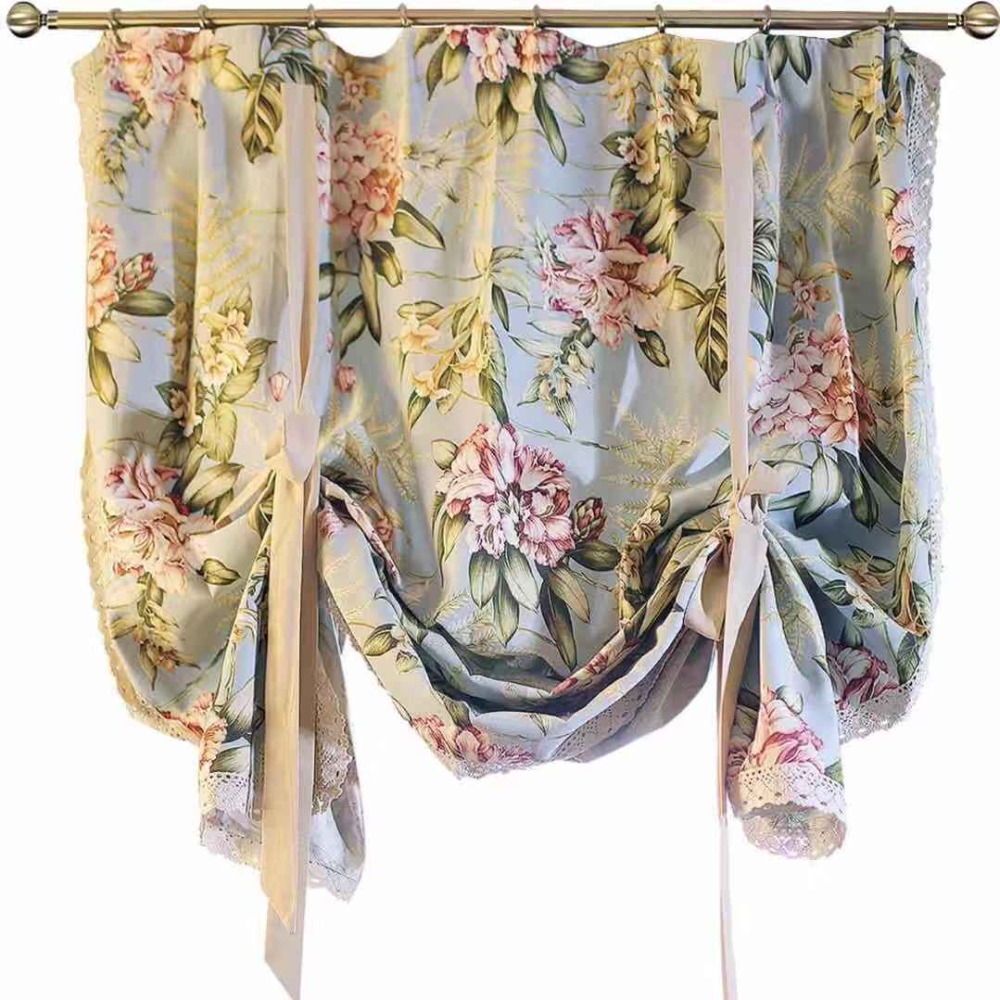 Palace style Baroque Light Blue Floral Adjustable Height Decorative Partition Curtain Door Curtain Balloon Curtain 90