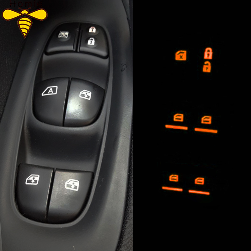 Window Switch Fluorescence Sticker Cover Trim for Nissan X-trail Rogue T32 Qashqai J11 Almera Sylphy Teana Tiida