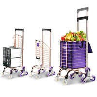 20%Shopping Cart Buy Food Cart Small Pull Cart Home Trolley Car Trolley Climb Stairs Folding Portable Pull Cart Trailer