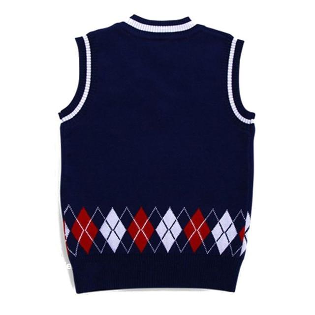 Autumn/Spring Casual Kids Boys Girls Outerwear Sweater Vest Argyle V Neck Sleeveless Pullover Knit School Waistcoat 2-7T 5