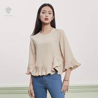 Van Silan En Seven Korean Female Short Sleeve Chiffon Shirt Sleeve Chiffon Lotus Summer Loose Blouse