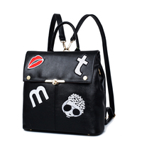 HOT Fashion Cool Black Pu Leather Backpack Women High Quality Embroidery Printing School Backpack Girls Travel